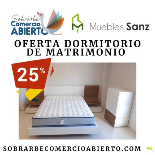 Oferta dormitorio de matrimonio 25% de descuento en Muebles Sanz